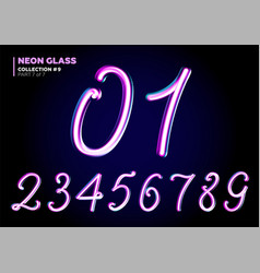 3d glass letters with night neon light effect vector image vector image