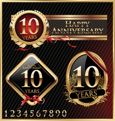 Anniversary golden labels vector image vector image