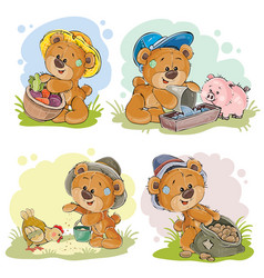 brown teddy bear farmer vector image vector image