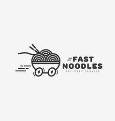 fast noodles logo vector image vector image