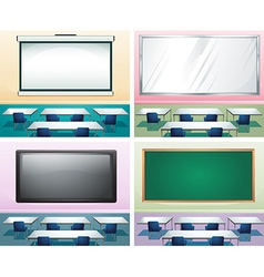 Four scenes of classrooms vector image