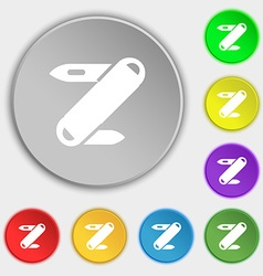 Pocket knife icon sign Symbol on eight flat vector image vector image