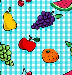 Seamless grungy fruits over light blue gingham vector image vector image