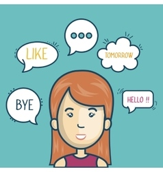 cartoon woman chat bubble speech graphic vector image
