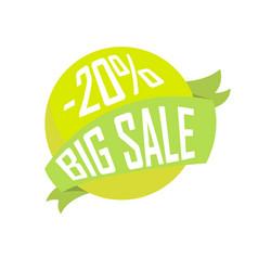 green ball in ribbon big sale for twenty percent vector image