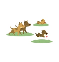 Happy family walking with dog in green field vector image