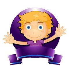Label design with boy in purple vector image vector image