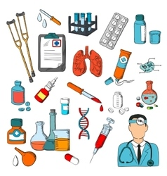 Medical tools and treatment icons vector image vector image
