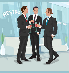 men in business suits drink red wine in office vector image