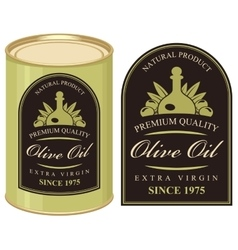 tin with label olive oil vector image
