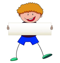 Boy with curly hair holding white sign vector image