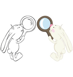 rabbit and magnifier vector image vector image