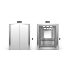 realistic metal office building elevator doors vector image
