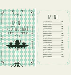 restaurant menu with price list and served table vector image vector image
