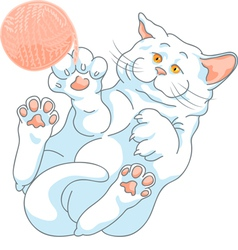 cute white cat playing with a ball of yarn vector image