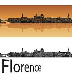 Florence skyline in orange background vector image vector image