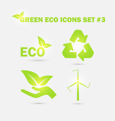 green eco icons set vector image