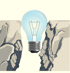 light bulb filling rocky abyss isolated vector image vector image