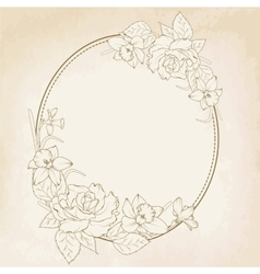 Oval floral frame with rose and narcissus flowers vector image vector image