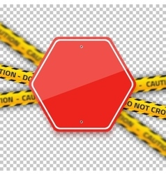 Road Red Stop Sign with Yellow Police Strip vector image vector image