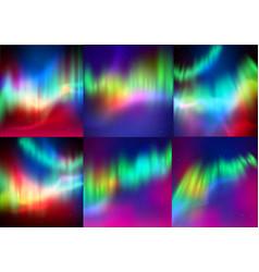 set of northern lights backgrounds vector image
