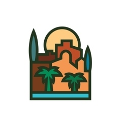 Sunset city building palm trees and the sea vector
