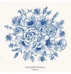 Vintage romantic background with a bouquet vector image