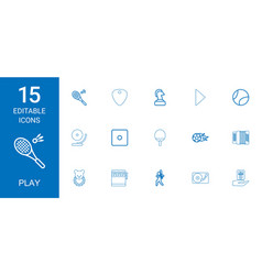 15 play icons vector