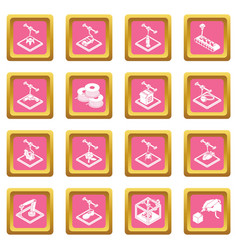 3d printing icons set pink square vector image