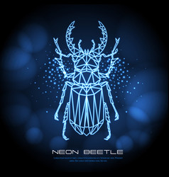 abstract neon polygonal triangle stag beetle vector image