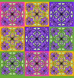 art nouveau ceramic tile pattern floral motifs in vector image