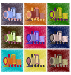 assembly flat shading style icons toy train vector image