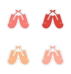 Assembly realistic sticker design on paper boxing vector