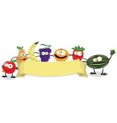 banner fruit vector image