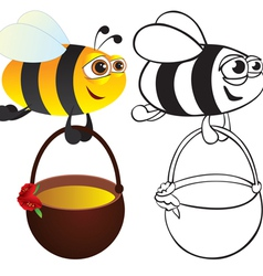 bee with honey vector image