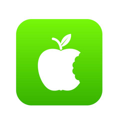 bite apple icon green vector image
