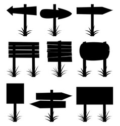 black and white collection of wooden signs vector image