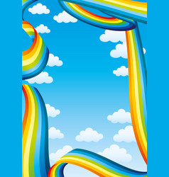 blue vertical banner with rainbows vector image