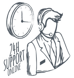 Call center 24 hours support online sketch icon vector