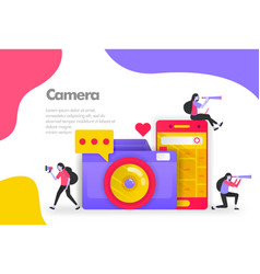 camera photography and sharing images concept vector image