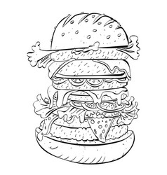 Cartoon image of huge sandwich vector