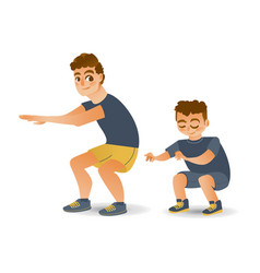 cartoon man and boy kid doing squat vector image