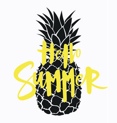 cartoon pineapple with an inscription summer vector image