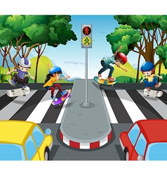Children skateboarding across the road vector image