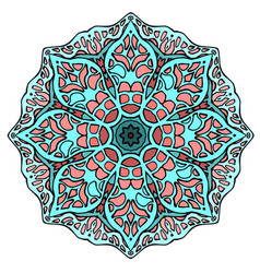 circular stained glass mandala round doodle vector image