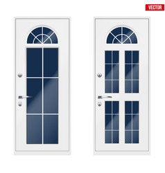 Classic white entrance door vector