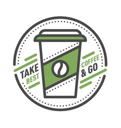 Coffee badge logo food design thin line lettering vector