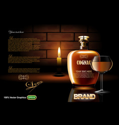 Cognac bottle with glass and candle vector