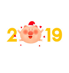 Colored numbers 2019 with a fat pig and hearts vector