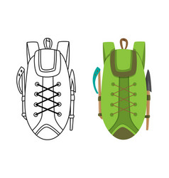 colorful camping backpack in flat design with vector image